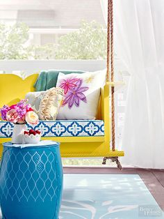 These DIY porch ideas will amp up the style of your space! Try striped walls, lots of bright colors, a porch swing with plenty of pillows, paper lanterns, and more. Porches are the perfect way to enjoy the outdoors with the comfort of the indoors. These porches are gorgeous and built for easy, breezy, summer days.