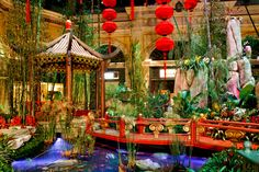 The Bellagio Chinese New Year Decor at Night
