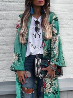 Kimono Floral, Chiffon Kimono, Floral Cardigan, Kimono Cardigan, Kimono Dress, Floral Chiffon, Kimono Fashion, Boho Fashion, Fashion Outfits