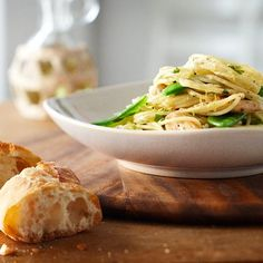 Lemon Chicken Spaghettini, a favorite at our house, but I just use frozen peas.
