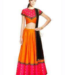 Buy Orange  Hand Embroidered Silk Designer Lehenga with Blouse lehenga-choli online