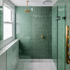 Green and Brass a perfect combination for this stunning renovation by @trumanbuilding 📷@evanmacleanphotography #architecture #designer #brass #bathroom #subwaytiles #green #artoftilesnewtown