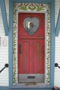 Charming Red Door to a pottery shop in Rochester, Vermont, USA ~photo by Treewhimsy