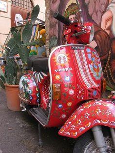 """""""a dream is a wish your heart makes."""" (Boho Vespa ☮k☮) Scooters Vespa, Moto Scooter, Scooter Girl, Vespa Girl, Mode Hippie, Hippie Chic, Fiat 500, Px 125 Vespa, Lambretta"""