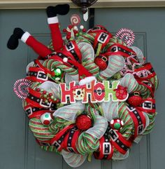 Santa Christmas Wreath Winter Wreath by EverWreath on Etsy