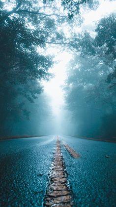 Wet Mist Road - iPhone Wallpapers