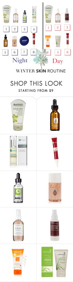 """""""Winter Skin Routine: Night & Day"""" by dezaval ❤ liked on Polyvore featuring beauty, Aveeno, Mimi Luzon, Garnier, SkinCare, Herbivore, Korres, Vichy and Nivea"""