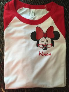 Free Shipping!! Mouse ears Nana Red and White Raglan/ Nana Shirt / Vacation Raglan Shirt/ Grandma/ Girl mouse ears