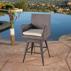 Havenside Home Fairfax Outdoor Wicker Swivel Armed Cushion Barstool (Braxton PE Swivel Armed Barstool), Brown(Iron), Patio Dining Chairs Wicker Bar Stools, Outdoor Bar Stools, Outdoor Chairs, Outdoor Furniture Sets, Outdoor Decor, Furniture Deals, Rattan Furniture, Furniture Layout, Outdoor Dining