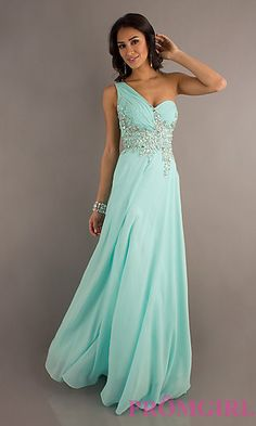 One Shoulder Prom Gown with Sheer Back by Tiffany Designs at PromGirl.com