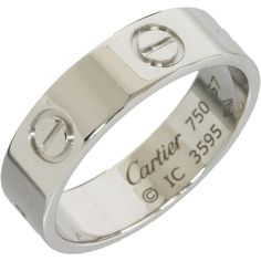Pre-owned Cartier 18k White Gold Love Ring  Us Size 8.25 (1,040 CAD) ❤ liked on Polyvore featuring jewelry, rings, accessories, none, white gold rings, pre owned jewelry, preowned rings, white gold jewelry and pre owned rings