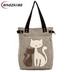 Fashion Women Canvas Handbag Cute Cat Appliques Travel Shoulder Bags Causal  Lady Handbags Female Shoulder Tote 7564955f6a