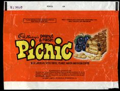 UK - Cadbury's - Picnic - chocolate candy bar wrapper - by JasonLiebig… 70s Sweets, Vintage Sweets, Retro Sweets, Sweet Wrappers, Candy Bar Wrappers, Retro Candy, Vintage Candy, My Childhood Memories, Sweet Memories