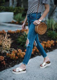 Cropped denim, striped shirt, straw bucket bag, slides for summer outfit inspiration