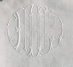 """Spectacular Antique Off White Linen Sheet 82x120"""" Embroidered with """"ML"""" monogram"""