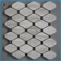 Haisa Marble Natural Stone Mix Metal Octagon Mosaic Pattern