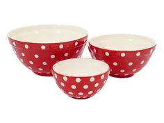 Set of 3 Red  Polka Dot Bowls