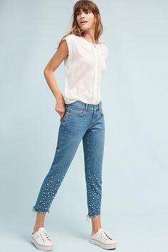 Pilcro and the Letterpress Pilcro Hyphen Pearl Mid-Rise Relaxed Boyfriend Jeans [Affiliate Link] Boyfriend Jeans, Pantalones Boyfriend, Trendy Jeans, Casual Jeans, Casual Chic, Diy Jeans, Women's Jeans, Embellished Jeans, Embroidered Jeans
