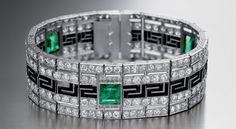 Bvlgari Deco bracelet in platinum with emeralds, onyx and diamonds 1925