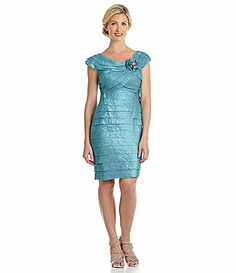 London Times Rosette ShutterTier Dress #Dillards I have this in pink and it looks good on me, but it may not be MOB quality.