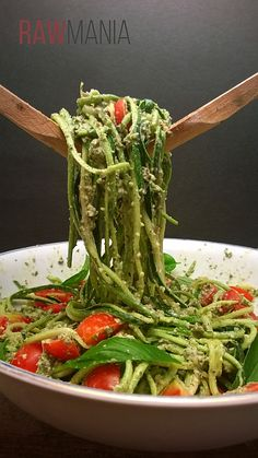 Zucchini spaghetti with pesto and cherry tomatoes!! Lovely, fresh, healthy food!