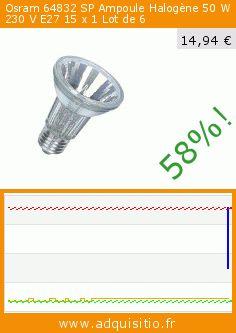 Osram 64832 SP Ampoule Halogène 50 W 230 V E27 15 x 1 Lot de 6 (Cuisine). Réduction de 58%! Prix actuel 14,94 €, l'ancien prix était de 35,63 €. https://www.adquisitio.fr/osram/e27-halopar-par20-50w
