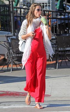 Alessandra Ambrosio Maternity Dress - Alessandra Ambrosio showed off her growing figure in this red maxi-dress while out in Hollywood. Cute Maternity Outfits, Stylish Maternity, Maternity Wear, Maternity Fashion, Maternity Dresses, Maternity Styles, Coral Maxi Dresses, Day Dresses, Alessandra Ambrosio