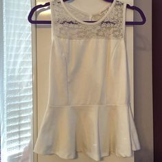 White Peplum Top Size medium. Slight signs of wear. Ambiance Apparel Tops Blouses
