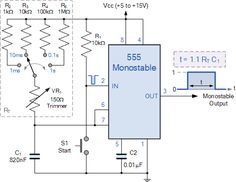 Switchable Monostable 555 Timer