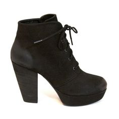Steve Madden Platform Heeled Lace Bootie  An amazingly comfortable shoes! They have a couple salt marks on them from wearing in the winter but I'm sure can come out with some TLC (see pictures). Otherwise in great condition! Steve Madden Shoes Lace Up Boots
