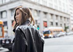 Sheen Slip – http://tsangtastic.com   Instagram @tsangtastic  Leather Jacket, Rebecca Minkoff, Finders Keepers, Slip Dress, Vince Platform Oxford