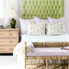 """Our """"Millie"""" and """"Darcy"""" fabric used for custom pillows in this pretty bedroom! Design by @oxforddesign"""