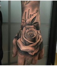 tattoos for men, rose tattoo, hand rose tattoo, on hand tattoo, rose covering tattoo Rose Hand Tattoo, Hand Tats, Arm Tattoo, Body Art Tattoos, New Tattoos, Sleeve Tattoos, Cool Tattoos, Rose Tattoo Man, Tatoos