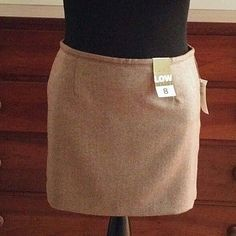 OLD NAVY SKIRT SZ 8 NWT BROWN HERRINGBONE Mini WOOL BLEND Lined LOW WAIST #OldNavy #StraightPencil