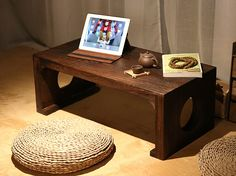Japanese Tea Table Rectangle 60*40cm Asian Antique Furniture Living Room Oriental Traditional Wooden Floor Low Side Table Laptop