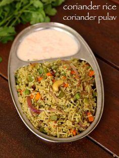 Rice recipe cilantro rice coriander pulao or kothamalli rice recipe with st Veg Recipes, Indian Food Recipes, Vegetarian Recipes, Cooking Recipes, Ethnic Recipes, Recipies, Paneer Recipes, Cooking Food, Vegetarian Cooking