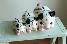 Vintage Quarters Nickels Dimes Piggy Bank by louloumint on Etsy https://www.etsy.com/listing/195690274/vintage-quarters-nickels-dimes-piggy