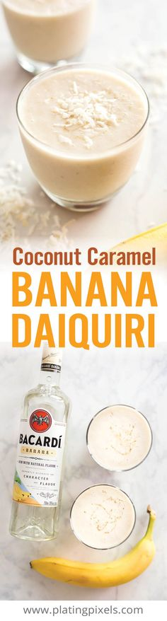 Msg 4 21+ This Coconut and Caramel Banana Daiquiri is an easy summer cocktail. Canned coconut milk, banana rum, frozen banana and lime blended into a slushy cocktail. Swirled with a homemade brown sugar caramel. Vegan and gluten free. [ad] #RumInTheSun - www.platingpixels.com