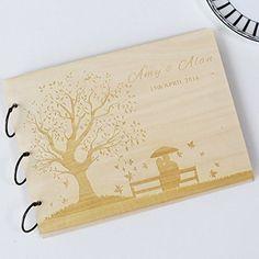 Custom Wedding Guest Book Wood Rustic Album Bridal Shower Engagement Anniversary