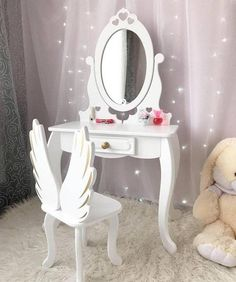 Kids dressing table - Girl's Dressing Table With Mirror - White Wooden Makeup table Kids Dressing Table, Little Girls Dressing Table, Dressing Table Design, Dressing Table Mirror, Girl Bedroom Designs, Room Ideas Bedroom, Kids Bedroom, Bedroom Decor, Princess Room