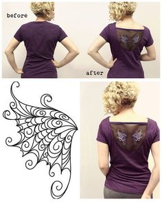 "DIY Organza Floating Wings Tee Shirt Restyle Tutorial by Urban Threads here. I haven't posted about Urban Threads in a long time, but they have cheap,  modern embroidery designs available for machine or hand stitch embroidery or stock art (lots of tattoo and Steampunk inpspired designs). You could hand embroider the wings to chiffon or organza and that's why I pictured their hand embroidery wing above. *They often have free downloads under ""free stuff"" and right now it"