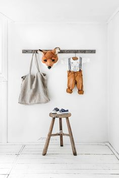 Louis the Fox animal head from Wild and Soft • vintage metal hook list from Mon en Me • linen bag from Bypias • wooden stool from B...