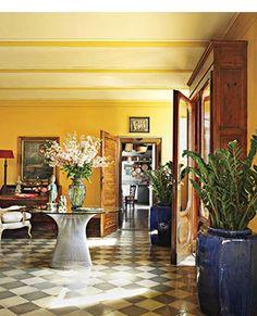 Tuscan villa entrance - golden wall color