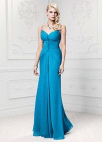 Truly Zac Posen Long Soft Crinkle Chiffon Gown, Style ZP281446 #davidsbridal #weddings #somethingblue
