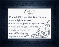 Suzanne - Name Blessings Personalized Cross Stitch Design from Joyful Expressions Embroidery Alphabet, Hand Embroidery Designs, Cross Stitch Designs, Cross Stitch Patterns, Family Poems, Favorite Bible Verses, Names With Meaning, You Are The Father, Gifts For Family