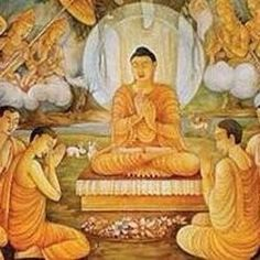 "In this picture, the Buddha has just attained enlightenment at Bodh Gaya. He went to Sarnath and taught his first speech to set the ""wheel of dharma"" Tibetan Buddhism, Buddhist Art, Buddhism Religion, Bodh Gaya, Buddha Painting, Spiritual Teachers, Popular Art, Guanyin, Types Of Art"
