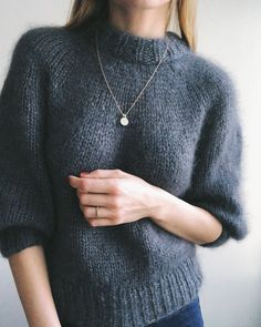 The Saturday Night Sweater is knit from the top down with a circular yoke. The neckline is shaped with short rows. The neckband is knit at the end from picked up stitches along the neckline. Sweater Knitting Patterns, Knit Patterns, Winter Sweaters, Sweater Weather, Women's Sweaters, Raglan Pullover, I Cord, Mohair Sweater, Casual Fall Outfits