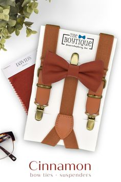 Are you looking for the perfect bow tie and suspender to match your cinnamon bridgesmaid dresses? We have your wedding needs sorted. #cinnamonbowtie #fallwedding #bowtieandsuspenders #weddingaccessories #weddingattire #wedding #weddingplanning Groomsmen Outfits, Bowtie And Suspenders, Leather Suspenders, Groom And Groomsmen Attire, Wedding Ring For Her, Gifts For Wedding Party, Party Gifts, Daddy And Son