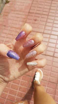 My Super Holographic Lecente Glitters acrylics   All six different colours blended