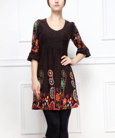 Love this Black Floral Ruffle Three-Quarter Sleeve Dress by Reborn Collection on #zulily! #zulilyfinds